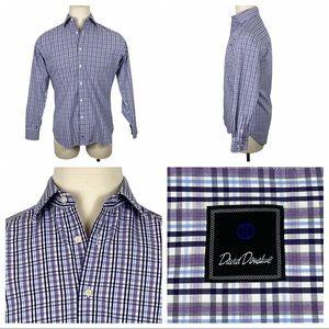 ExcCond David Donahue Plaid Dress Shirt 15 1/2